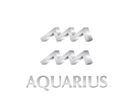 Astrological symbol of sign aquarius 3d photo