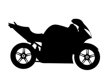 silueta ciclista: Motocicleta silueta sobre un fondo blanco