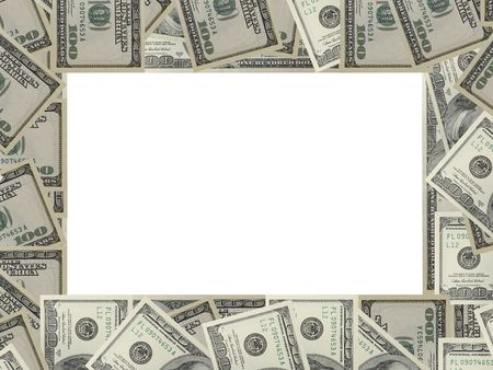 The dollar banknotes frame with white copy space Stock Photo - 3006633