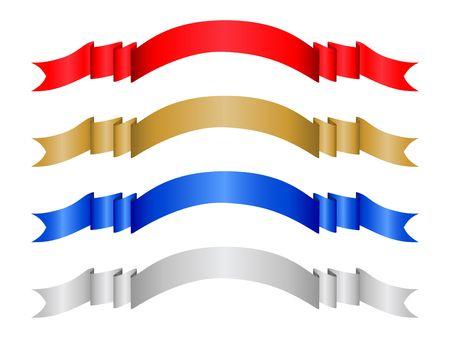 silver ribbon: Four decorative color ribbon banner