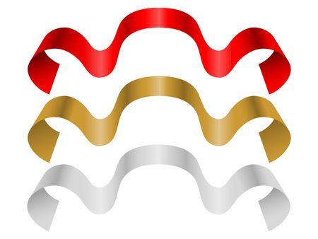 Three decorative color ribbon banner photo