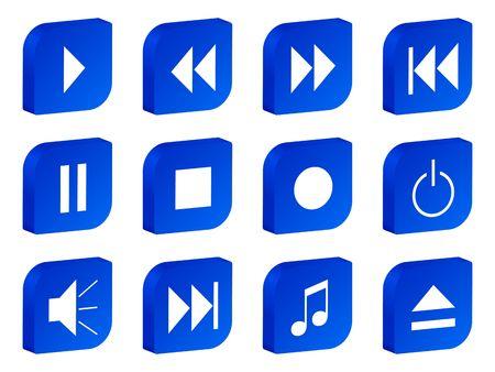 playback: 3D audio video blue icon set