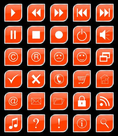Set orange web buttons photo