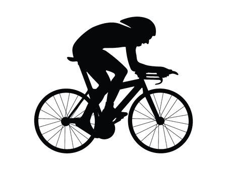 ciclista: Ciclista aislado silueta sobre un fondo blanco