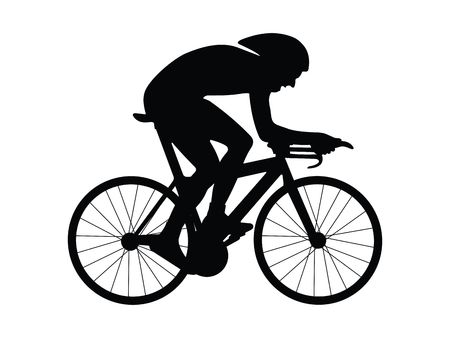 cycle ride: Cyclist silhouette isolated on a white background  Stock Photo