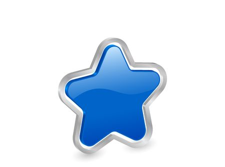Blue star icon with metal contour, isolated on white background photo