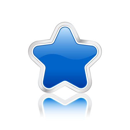 Blue star icon with metal contour, isolated on white background