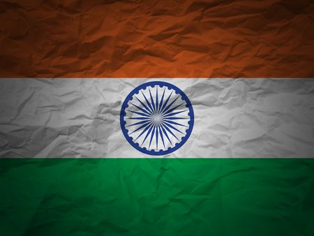 south india: India flag on a grunge paper background Stock Photo