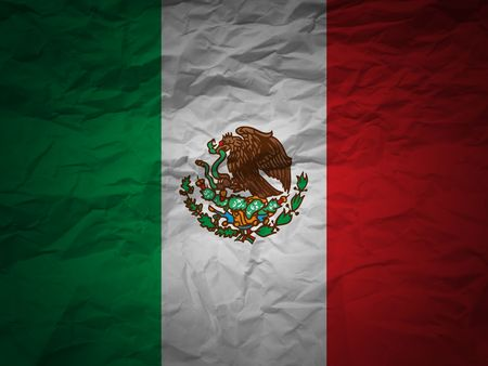 mexico flag: Mexico flag on a grunge paper background