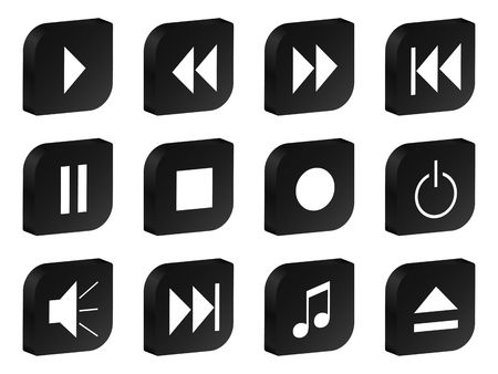 eject: 3D audio video black icon set. Stock Photo