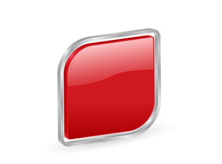 Red icon with metal contour, isolated on white background photo