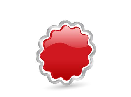 Red badge icon with metal contour, isolated on white background. Stock Photo - 3117911