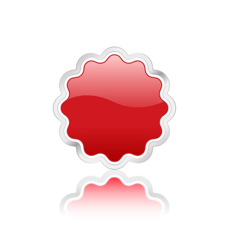 Red badge icon with metal contour, isolated on white background. Stock Photo - 3117914