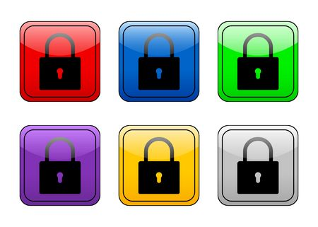 Padlock color web icon. Stock Photo - 3123122