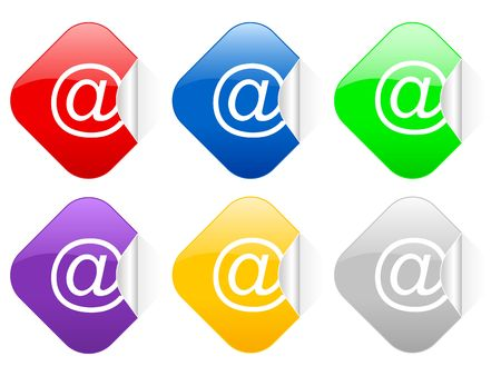 Color e-mail square stickers photo
