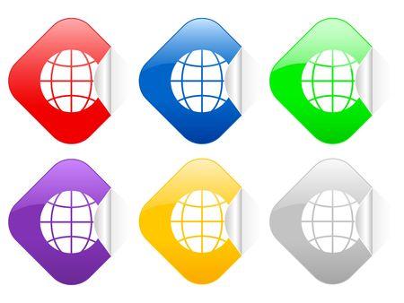 Color globe square stickers photo