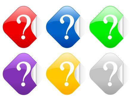 interrogative: Color interrogative mark square stickers