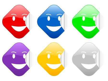 Color laughing face square stickers photo