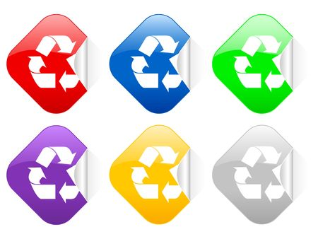 Color recycle square stickers photo