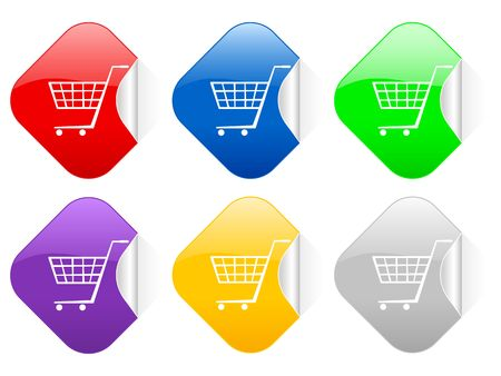 Color shopping cart square stickers photo