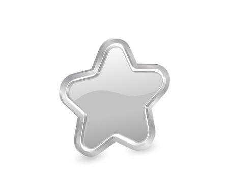 3d silver star with contour. photo