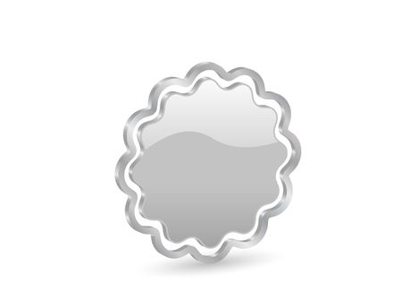Silver badge icon with metal contour, isolated on white background. photo