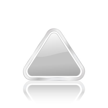 Silver triangular icon isolated on white background, photo