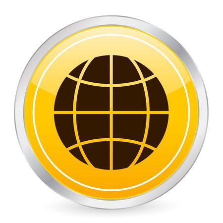 Globe symbol yellow circle icon photo