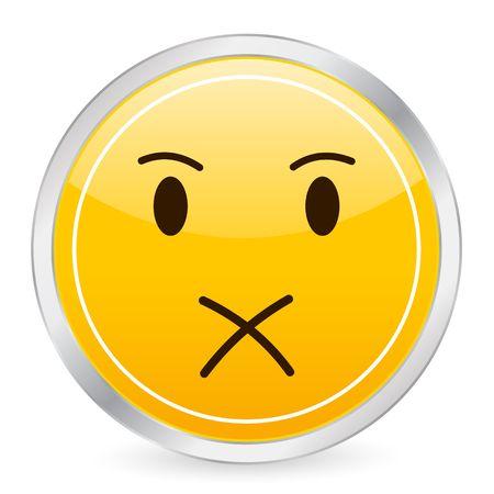 Shut up face yellow circle icon. photo