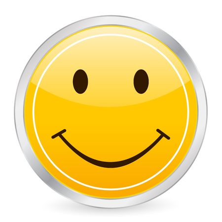 Smile face yellow circle icon. Stock Photo