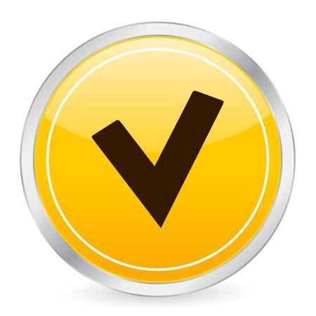 Check symbol yellow circle icon photo