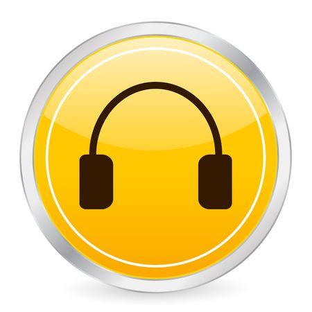 Headphone yellow circle icon photo