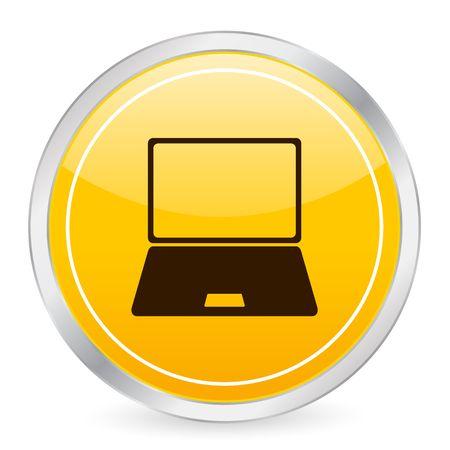 Laptop yellow circle icon Stock Photo - 3606332