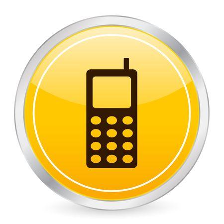 Mobile phone yellow circle icon photo