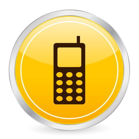 portable: Mobile phone yellow circle icon