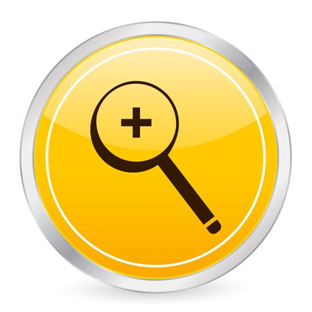 Zoom in yellow circle icon photo