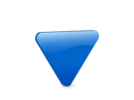 3D blue triangular isolated on white background.  photo