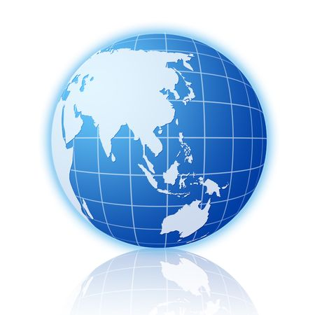 Blue world globe with reflection on a white background. Stock Photo - 3683559