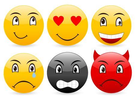 Smile set icon on a white background. Stock Photo - 3683494
