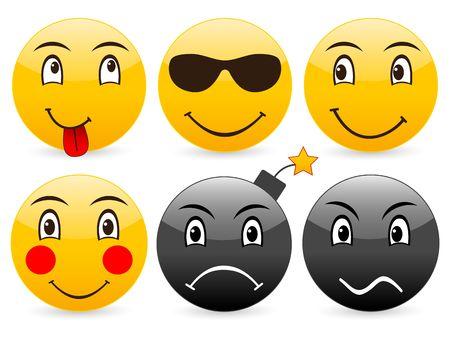 Smile set icon on a white background. Stock Photo - 3683444