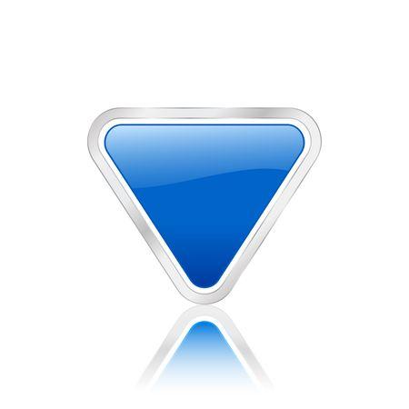 Blue triangular icon isolated on white background.  photo
