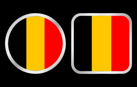 Belgium flag - two icon on black background. Vector illustration. illustration