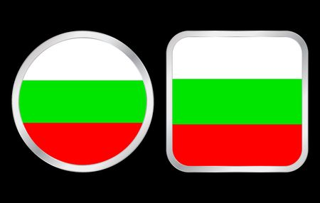 Bulgaria flag - two icon on black background. Vector illustration. illustration