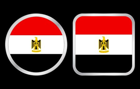 Egypt flag - two icon on black background. Vector illustration. Stock Illustration - 3735730
