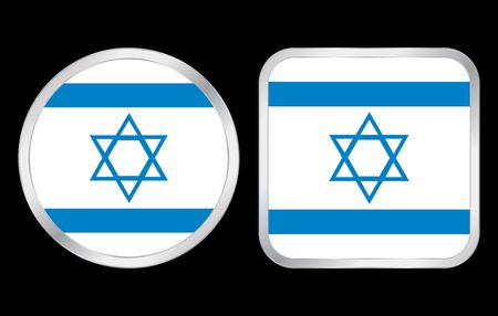 Israel flag - two icon on black background. Vector illustration. illustration