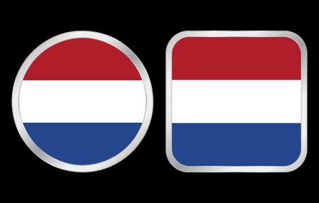 Netherlands flag - two icon on black background. Vector illustration. illustration