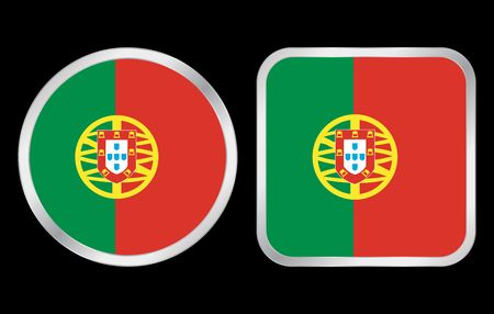Portugal flag - two icon on black background. Vector illustration. illustration