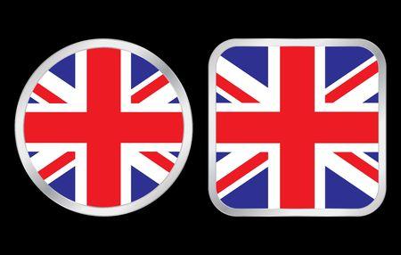 United Kingdom flag - two icon on black background. Vector illustration. illustration