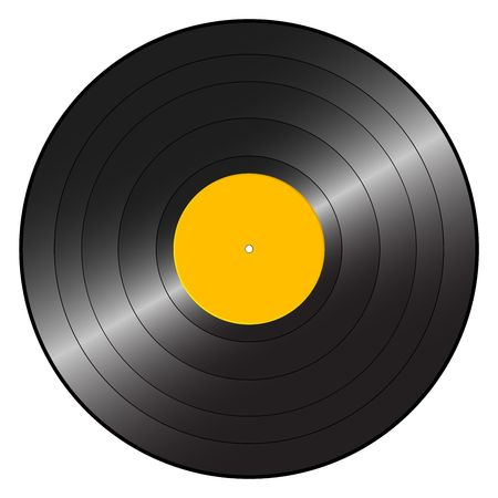Gramophone record on a white background.  photo