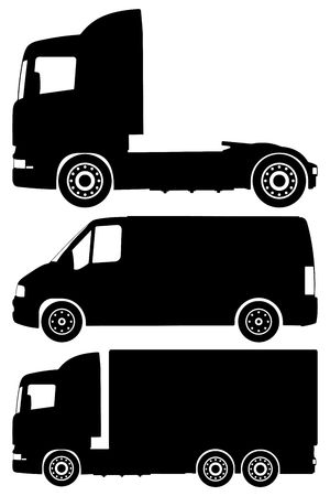 Silhouette trucks on a white background.  photo